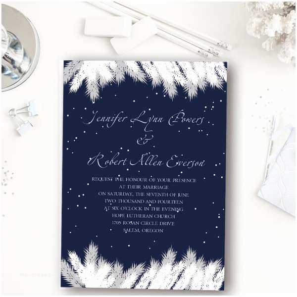 Winter Wedding Invitations Addorable Navy Blue Snow Winter Wedding Invitation Ewi367
