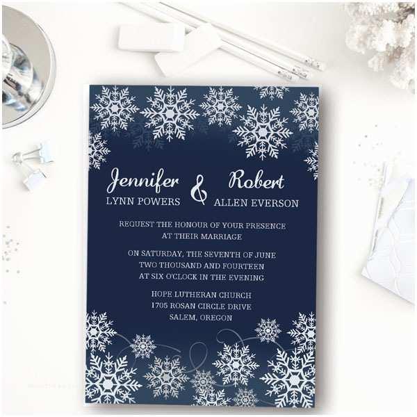 Winter Wedding Invitations Affordable Navy Blue Snowflake Winter Wedding Invitations
