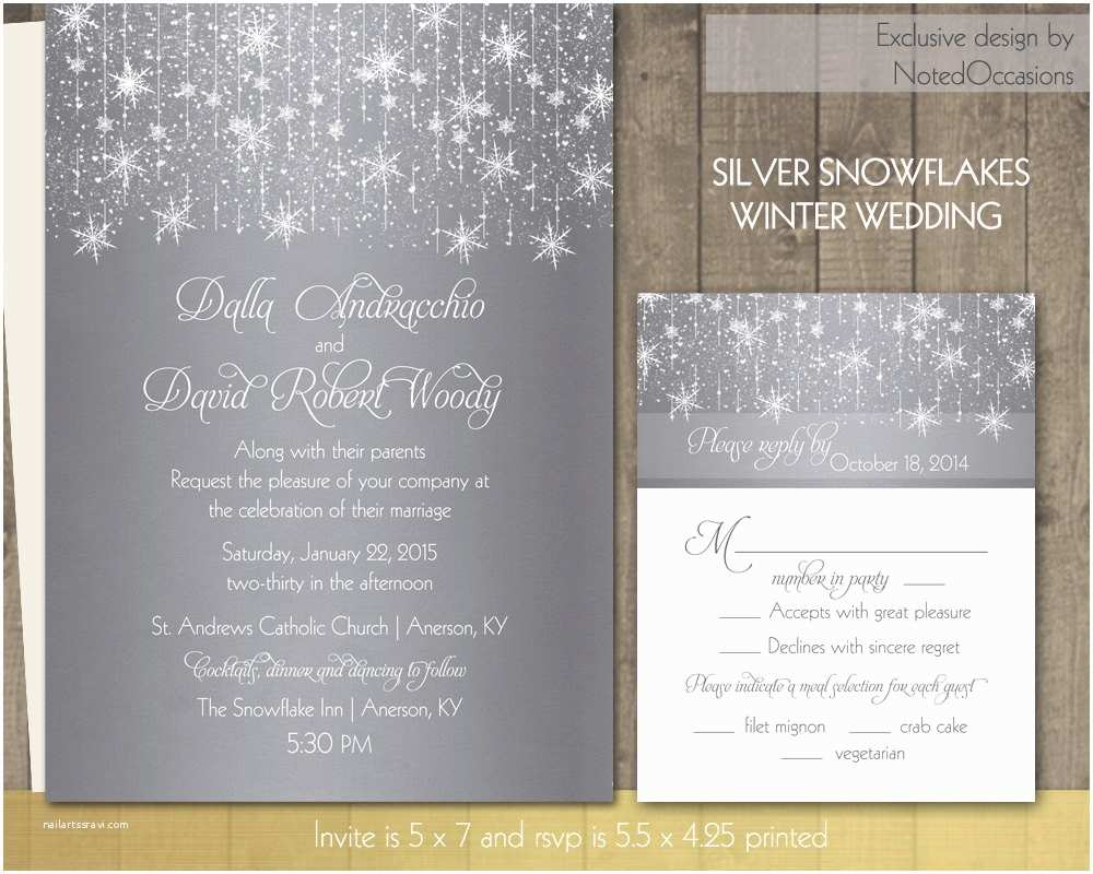 Winter Wedding Invitations Winter Wedding Invitations Silver Snowflake by Notedoccasions