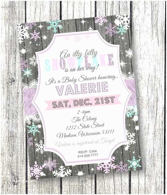 Winter Wonderland Baby Shower Invitations Snowflake Baby Shower Invitation Winter Wonderland