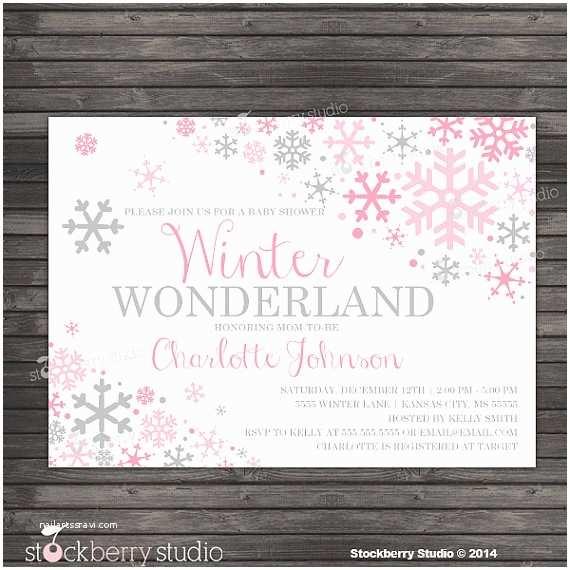 Winter Wonderland Baby Shower Invitations Winter Girl Baby Shower Invitation Printable Pink and Gray