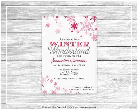 Winter Wonderland Baby Shower Invitations Winter Wonderland Baby Shower Invitation Printable Baby
