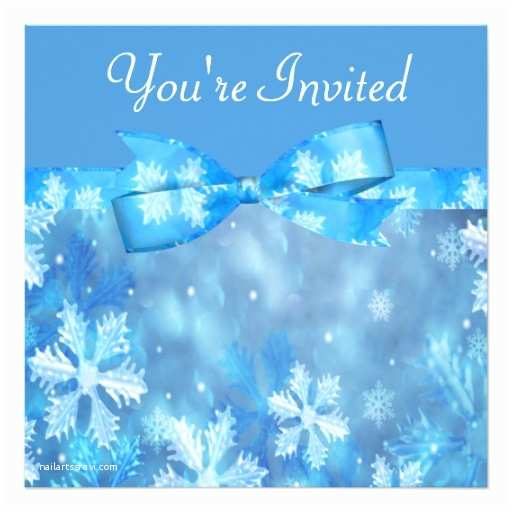 icy blue winter wonderland wedding invitation