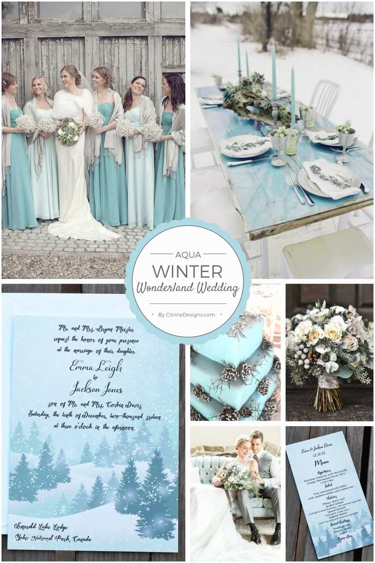 Winter Wonderland Wedding Invitations New Aqua Winter Wonderland Wedding Invitation