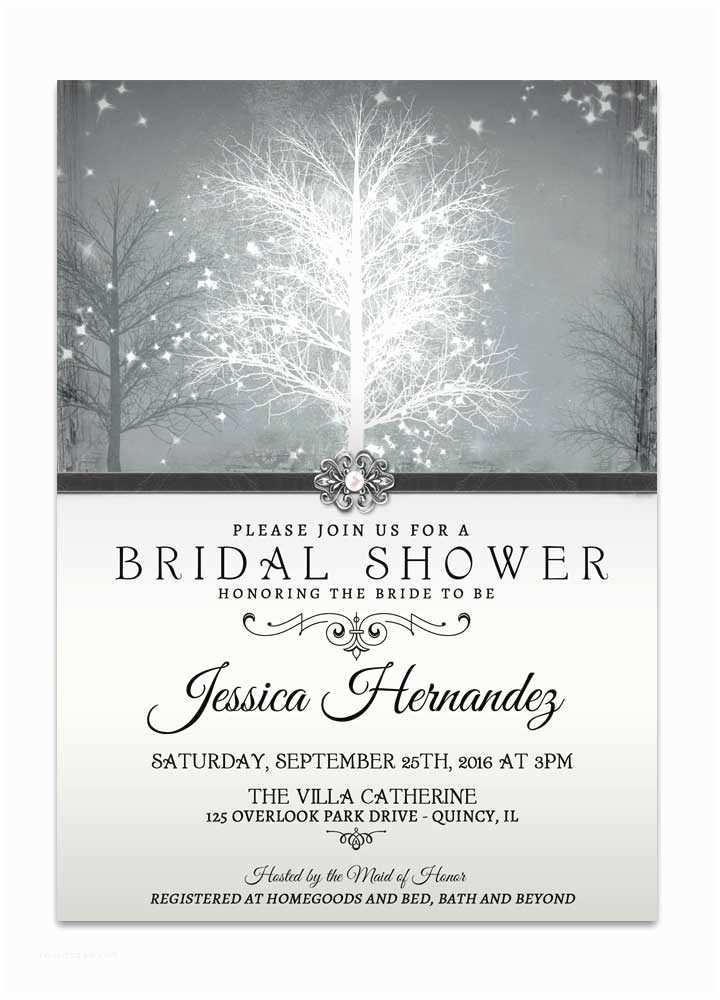 Winter Wonderland Wedding Invitations Winter Wonderland Bridal Shower Invitation Grey