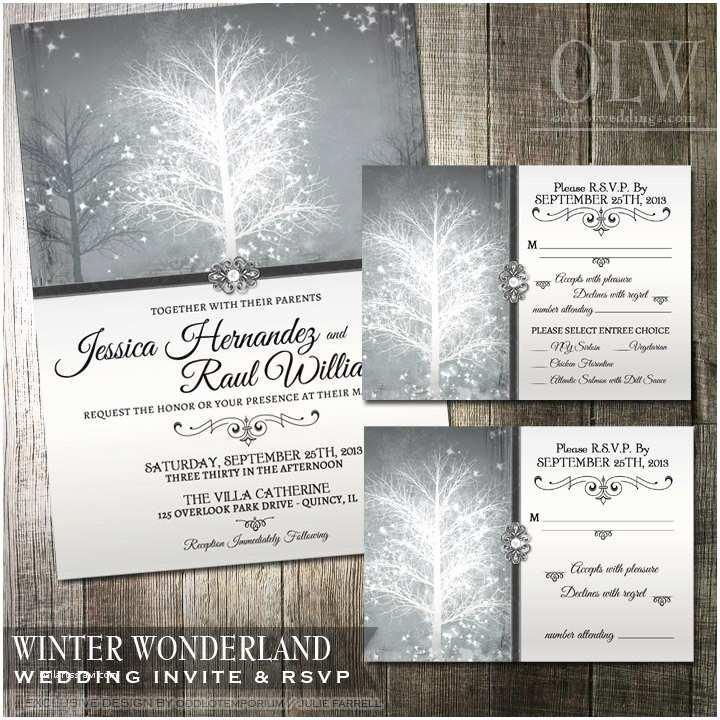 Wonderland Wedding Invitations Winter Wonderland Wedding Invitation & Rsvp by Oddlotpaperie