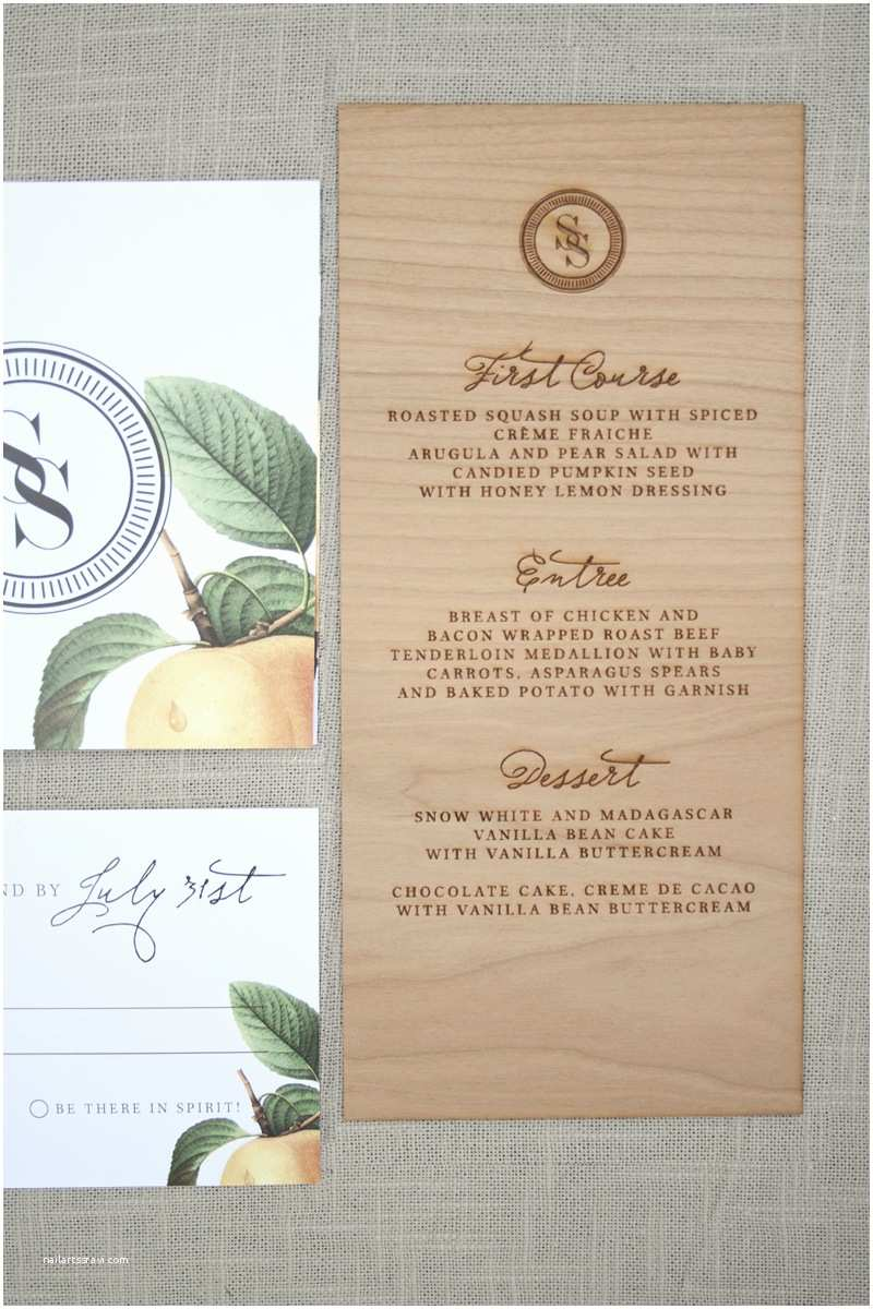 Wood Wedding Invitations Elegant and Rustic Wood Engraved Wedding Invitations