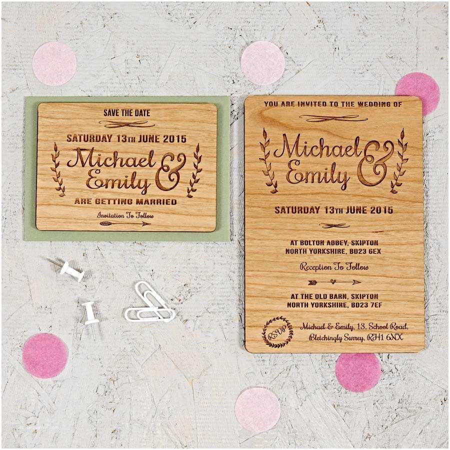 Wood Wedding Invitations Floral Wooden Wedding Invitation by sophia Victoria Joy