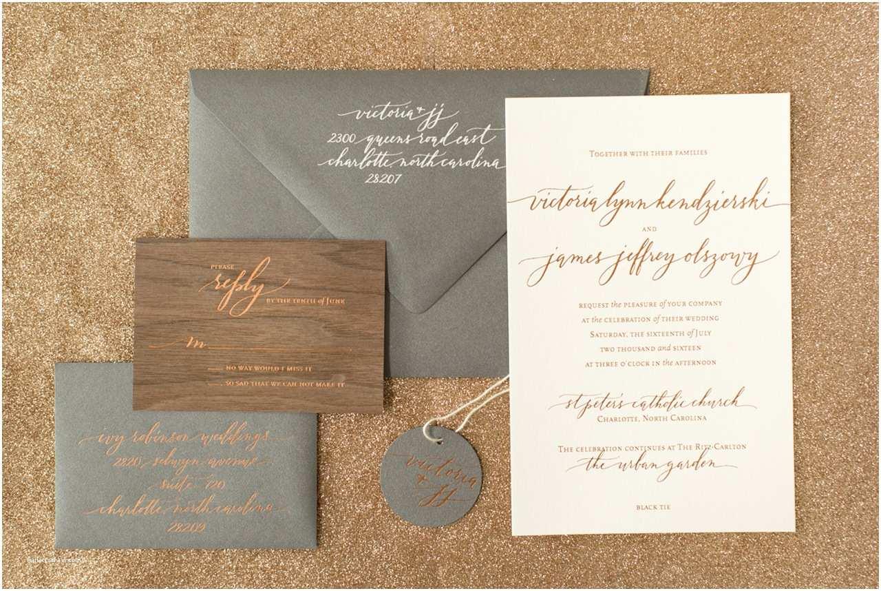 Wood Wedding Invitations Rustic Boho Wood and Copper Foil Wedding Invitations