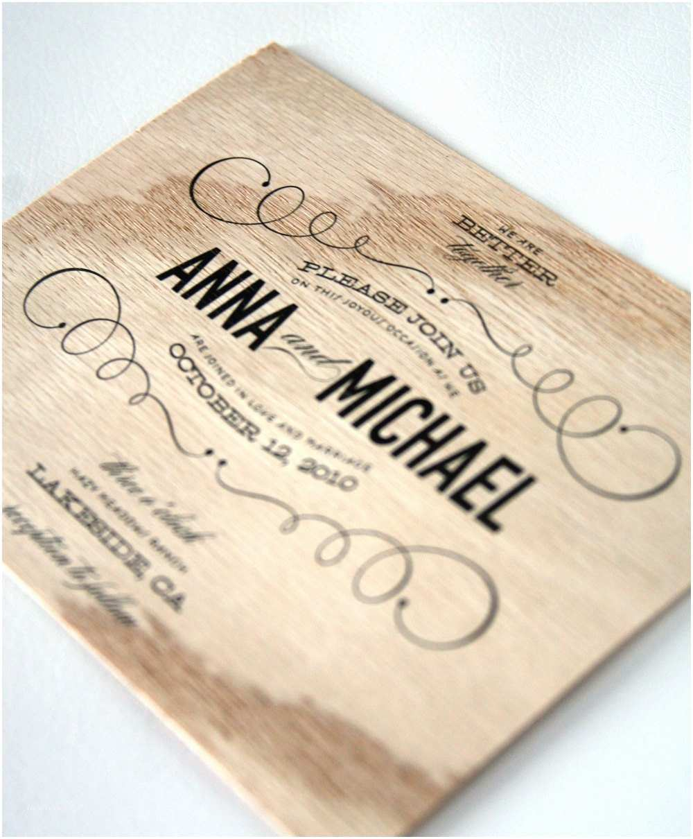 Wood Wedding Invitations Vintage Type Wooden Wedding Invitations by Cheerupcherup