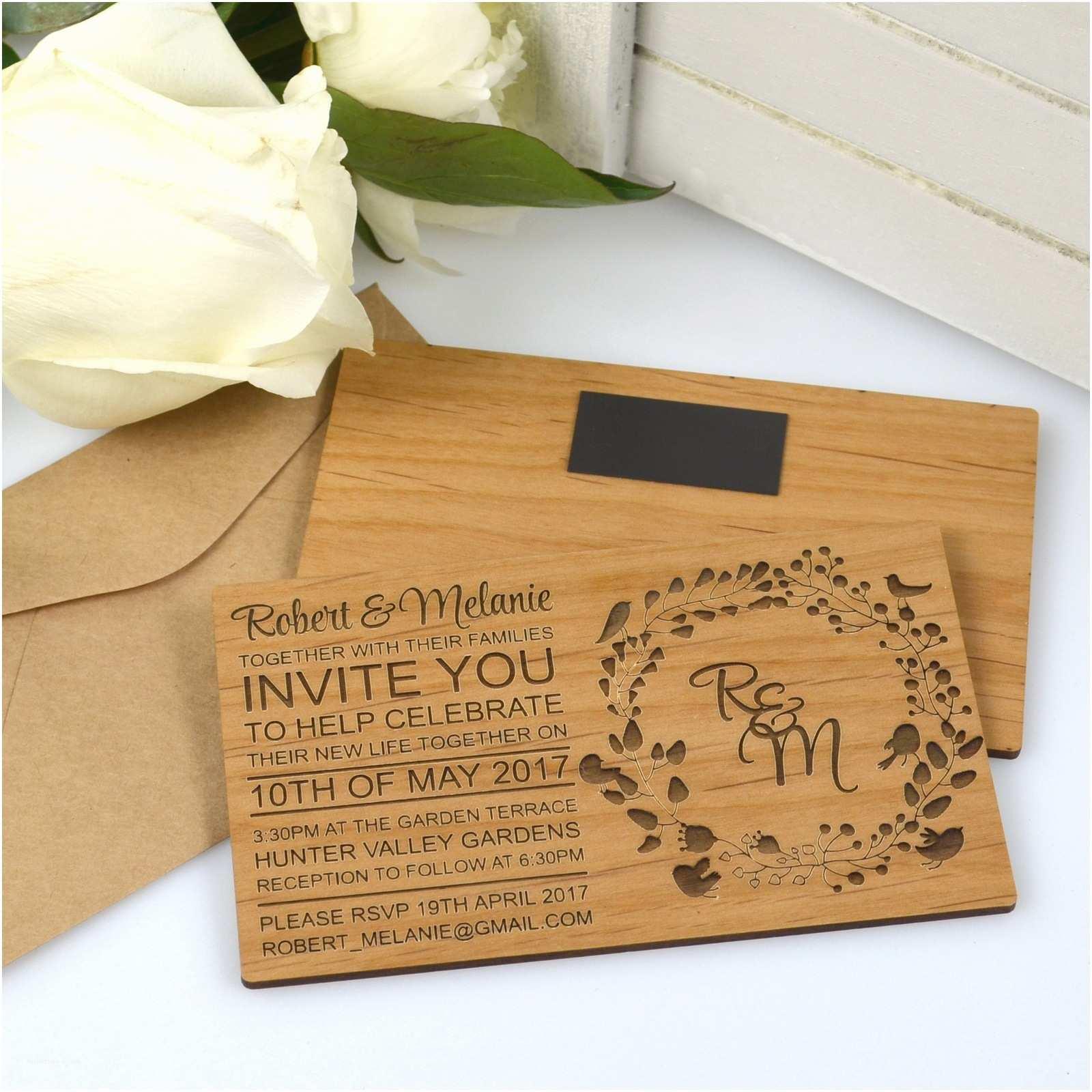 Wooden Wedding Invitations 11b Engraved Horizontal Wooden Wedding Invitations