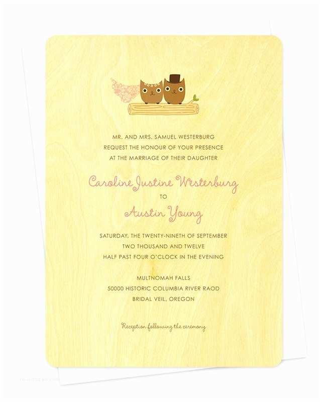Wooden Wedding Invitations Mr & Mrs Hoot Invitation ‹ Wedding Night Owl Paper Goods