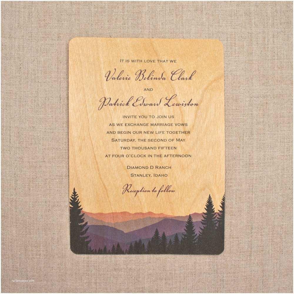 Wooden Wedding Invitations Real Wood Wedding Invitations Smoky Mountains