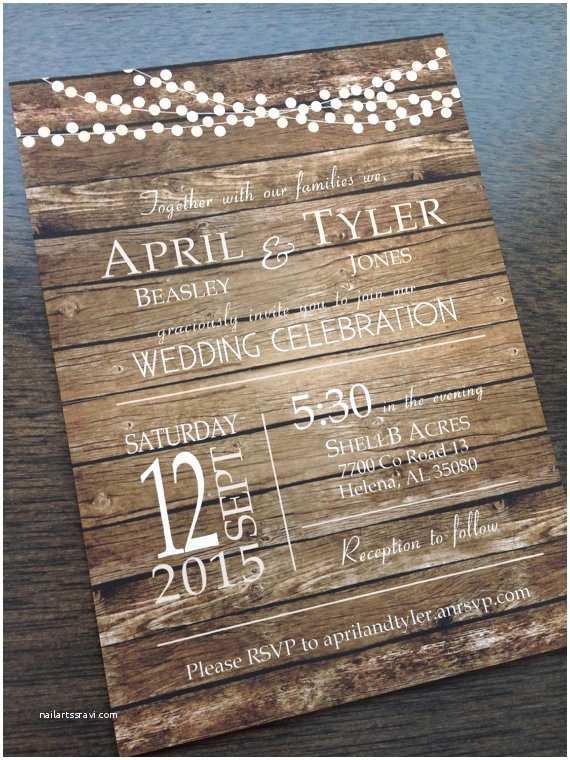 Wooden Wedding Invitations Rustic Barn Country Fall Wood Background Wedding Invitation