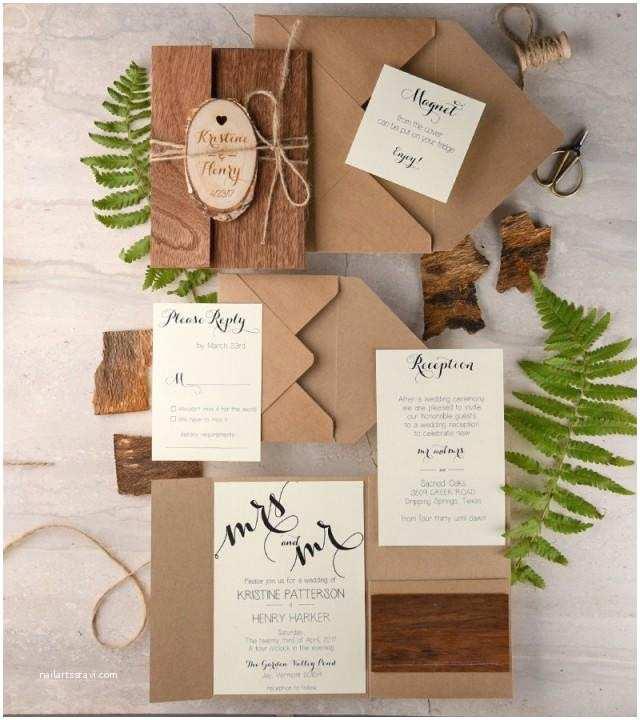 Wooden Wedding Invitations Rustic Wedding Invitation 20 Real Wood Invitation