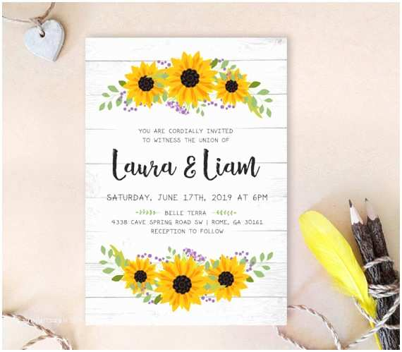 Woodsy Wedding Invitations 16 Sunflower Wedding Invitations Perfect for Fall Weddings
