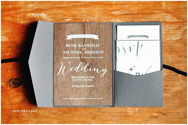 Woodsy Wedding Invitations Beth tomu S Woodsy Screen Printed Walnut Wedding Invitations