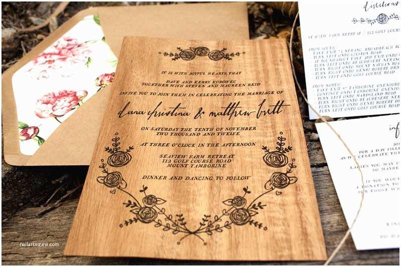 Woodsy Wedding Invitations Dana Matt S Rustic Floral Wood Veneer Wedding Invitaions