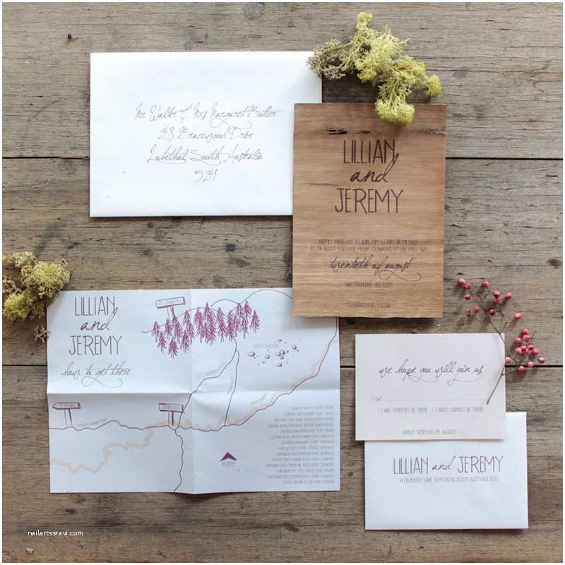Woodsy Wedding Invitations Earthy Wood and Floral Wedding Invitation From Akimbo