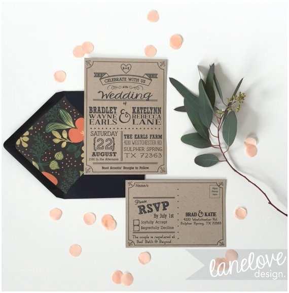 Woodsy Wedding Invitations Kraft Paper Wedding Invitation Set & Rsvp Post Cards