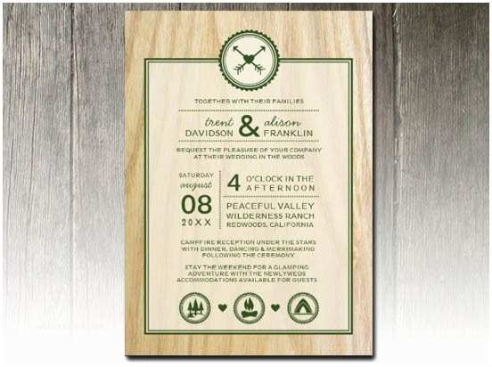 "Woodsy Wedding Invitations Party Simplicity Campground ""glamping"" Wedding Invitation"