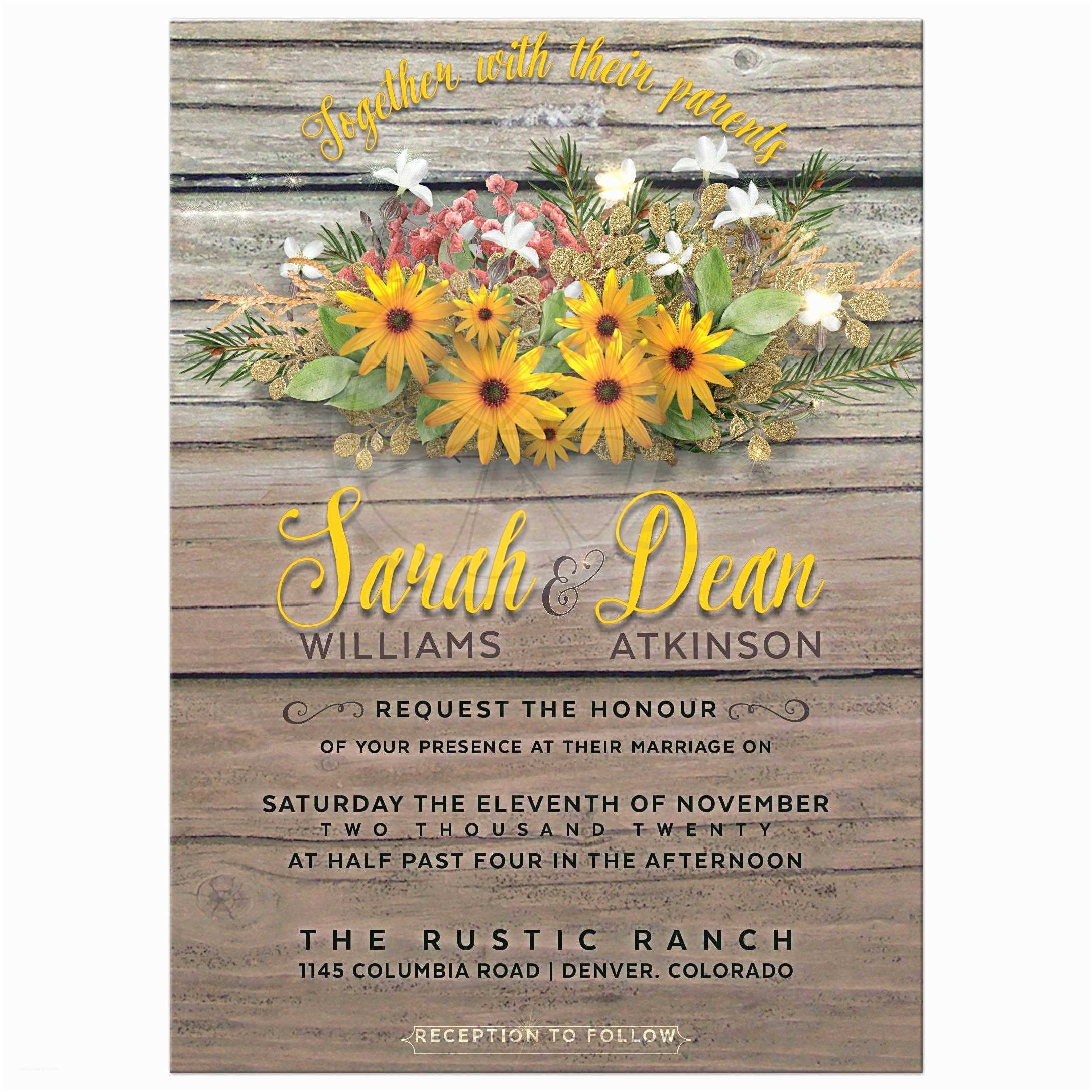Woodsy Wedding Invitations Rustic Floral Wedding Invitation