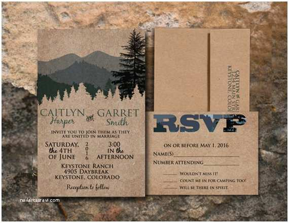 Woodsy Wedding Invitations Rustic Wedding Invitation Mountain Wedding by