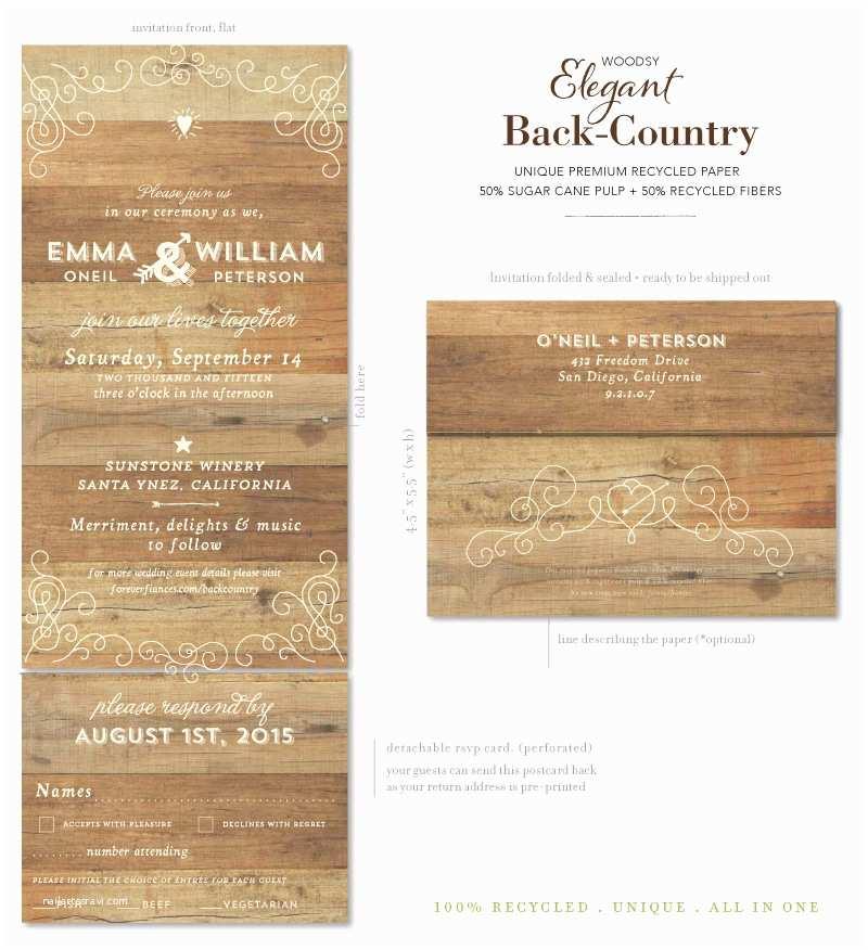 Woodsy Wedding Invitations Send N Sealed Woodsy Wedding Invitations Elegant Back