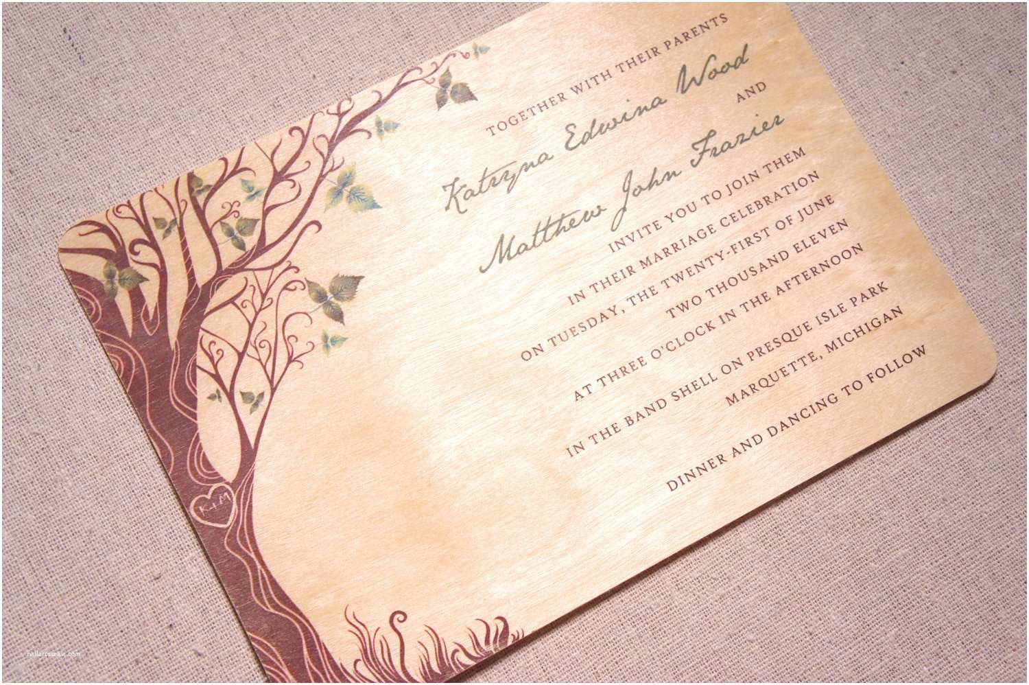 Woodsy Wedding Invitations Unique Wedding Invitations On Real Wood by