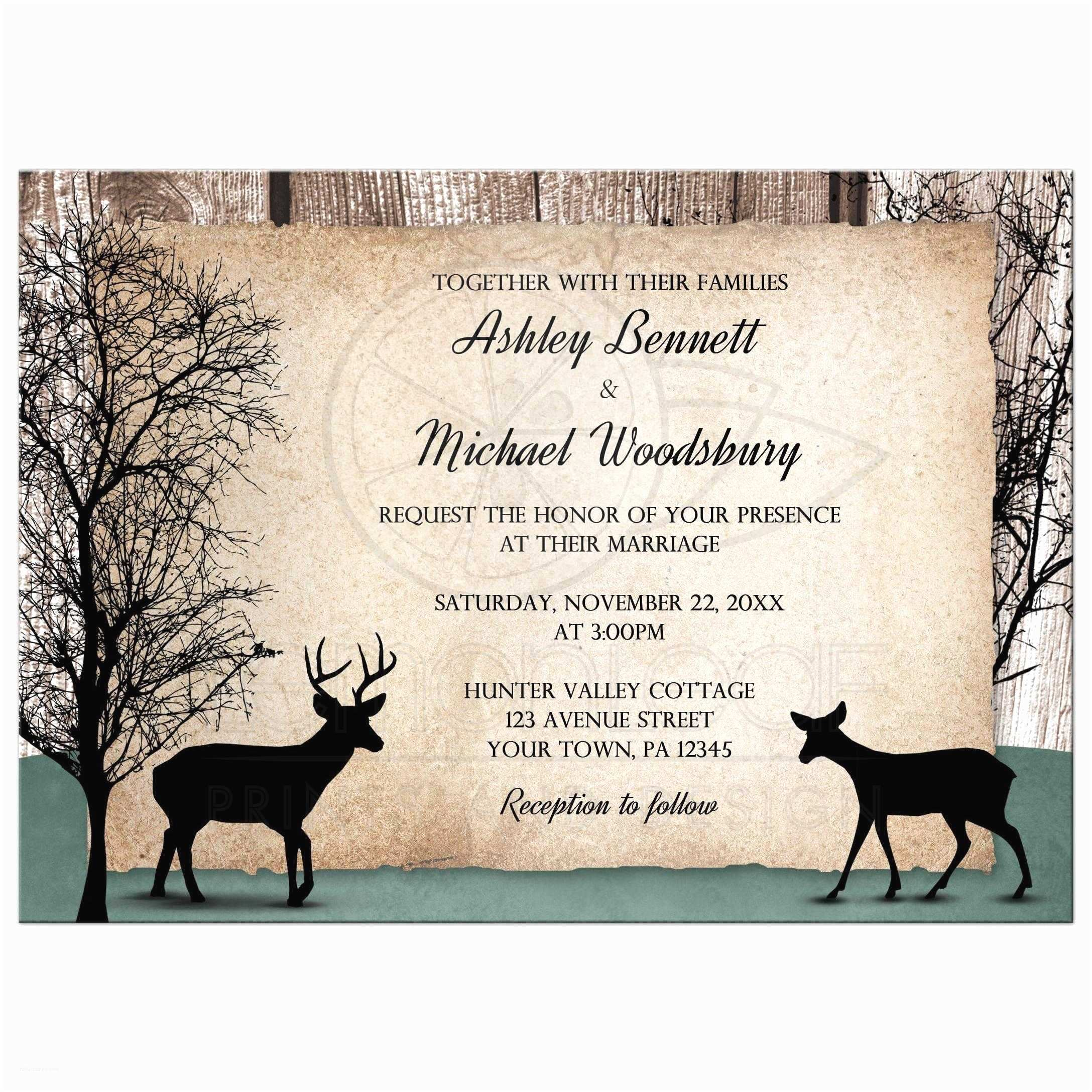 Woodsy Wedding Invitations Wedding Invitations Deer Rustic Woodsy