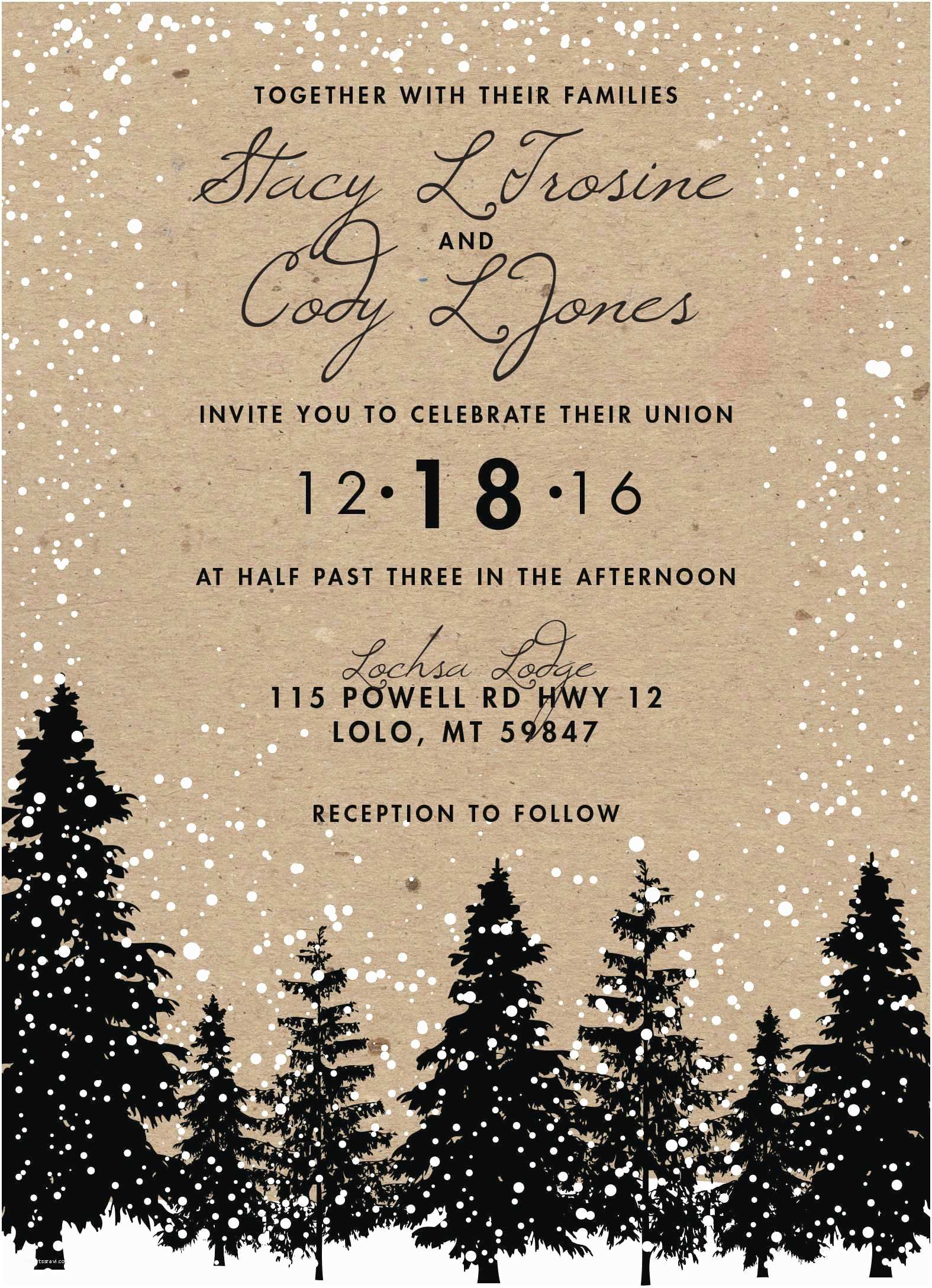 Woodsy Wedding Invitations Winter themed Wedding Invitations Beautiful Rustic Winter