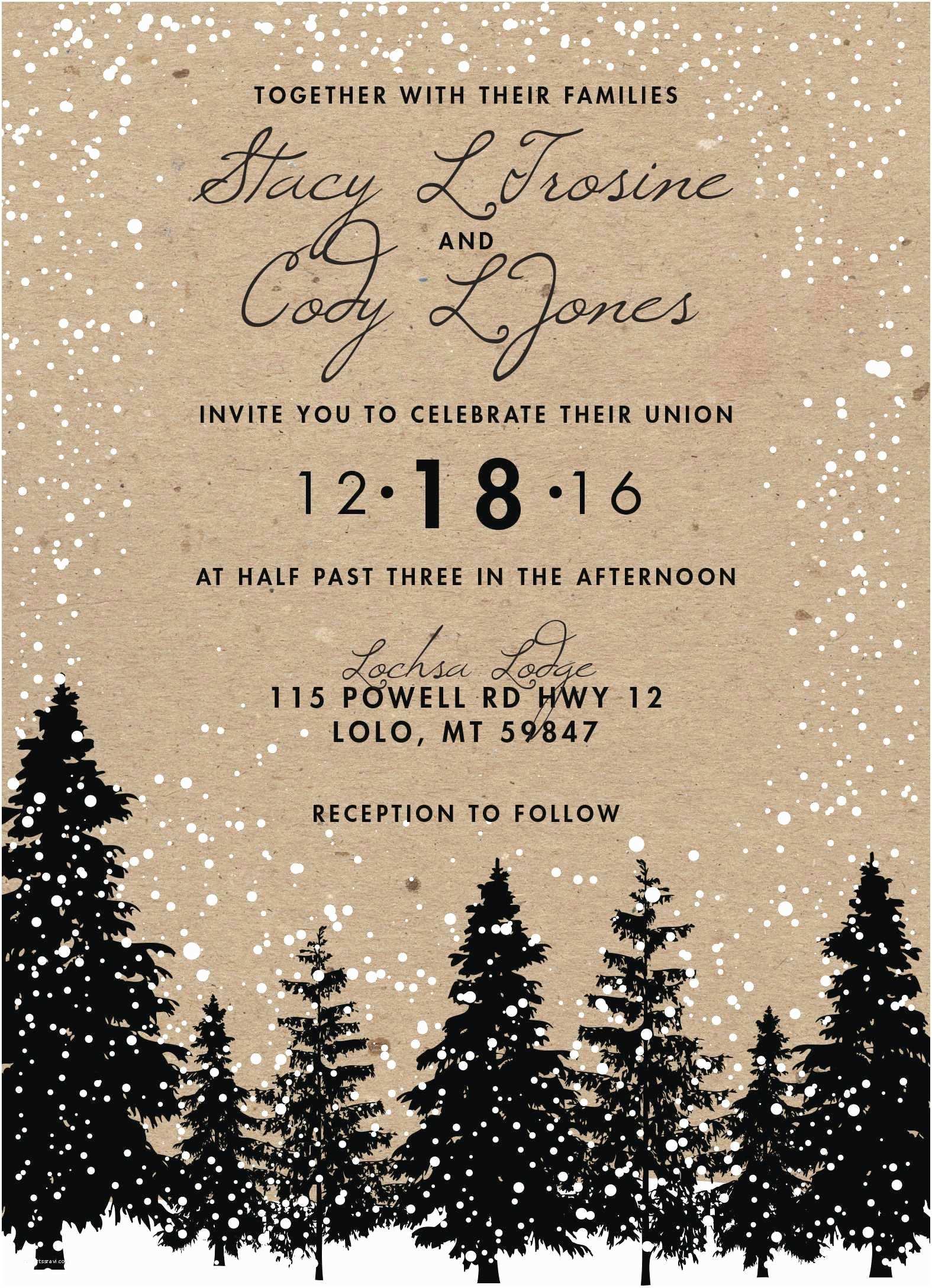 Woodsy Wedding Invitations  Themed Wedding Invitations Beautiful Rustic