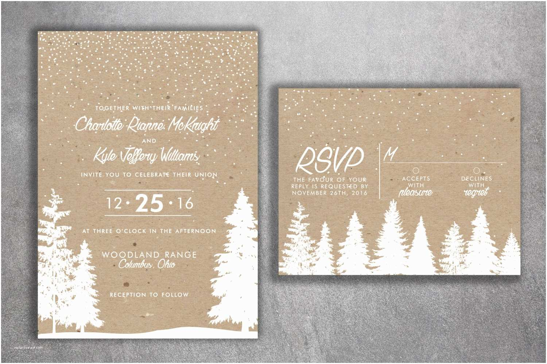Woodsy Wedding Invitations Winter Wedding Invitations Snow Wedding Invitation