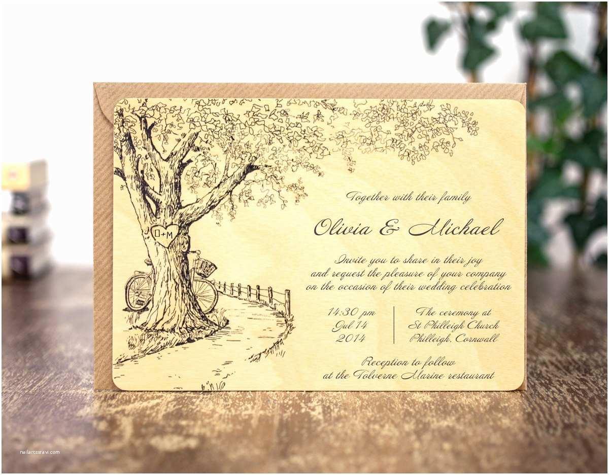 wood wedding invitations rustic wedding