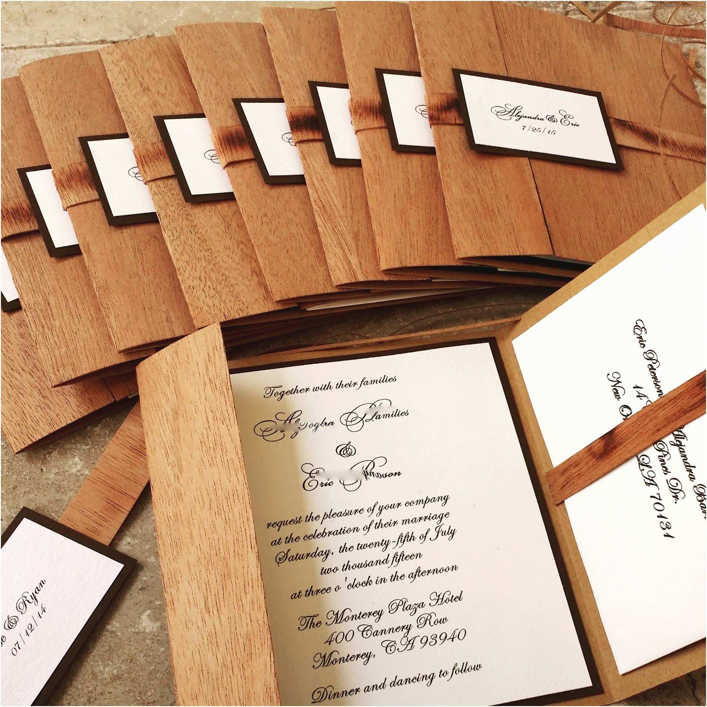 Woodsy Wedding Invitations Wooden Wedding Invitation Woodland Rustic Wedding