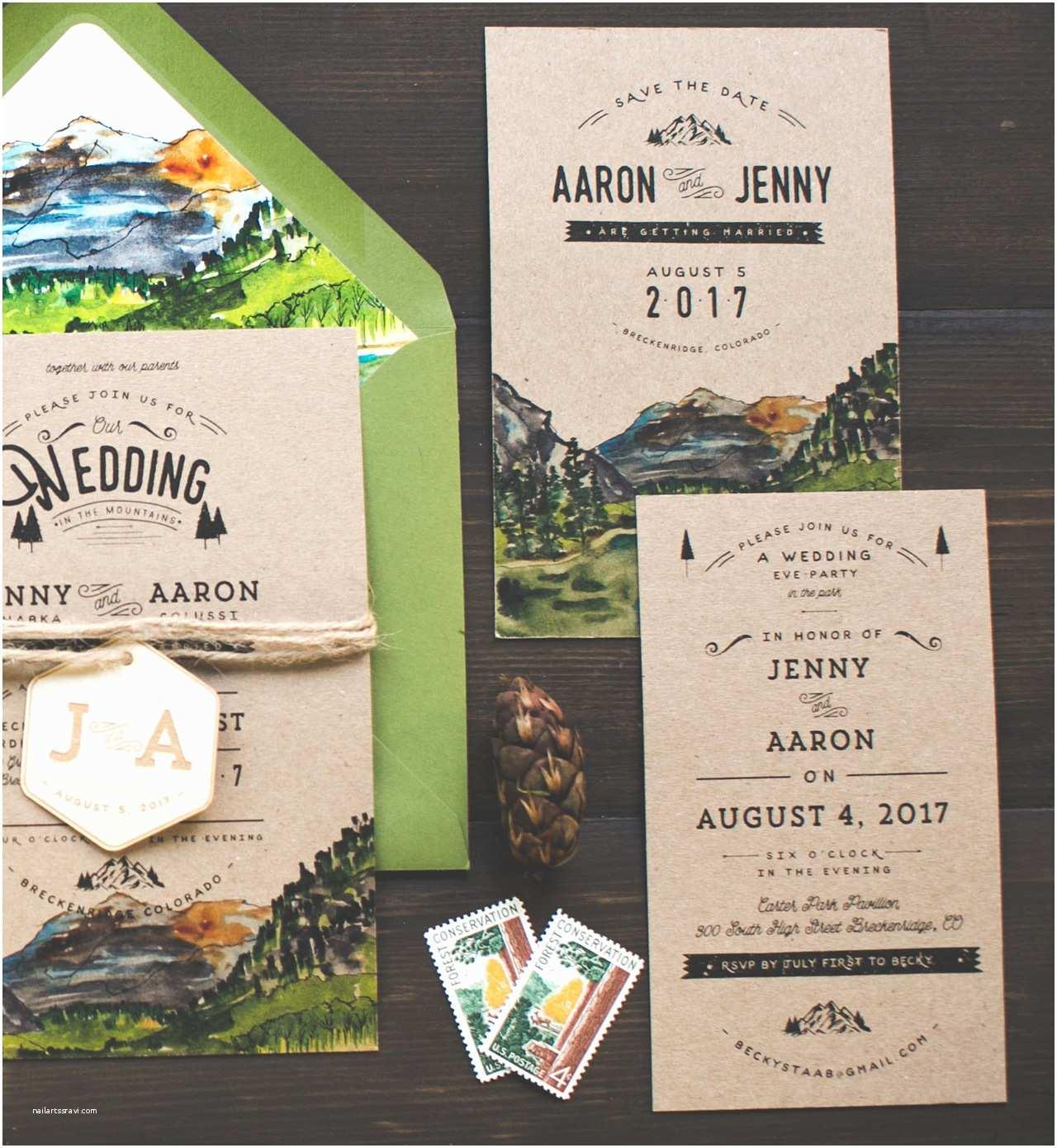 Woodsy Wedding Invitations Woodsy Illustrated Wedding Invitations