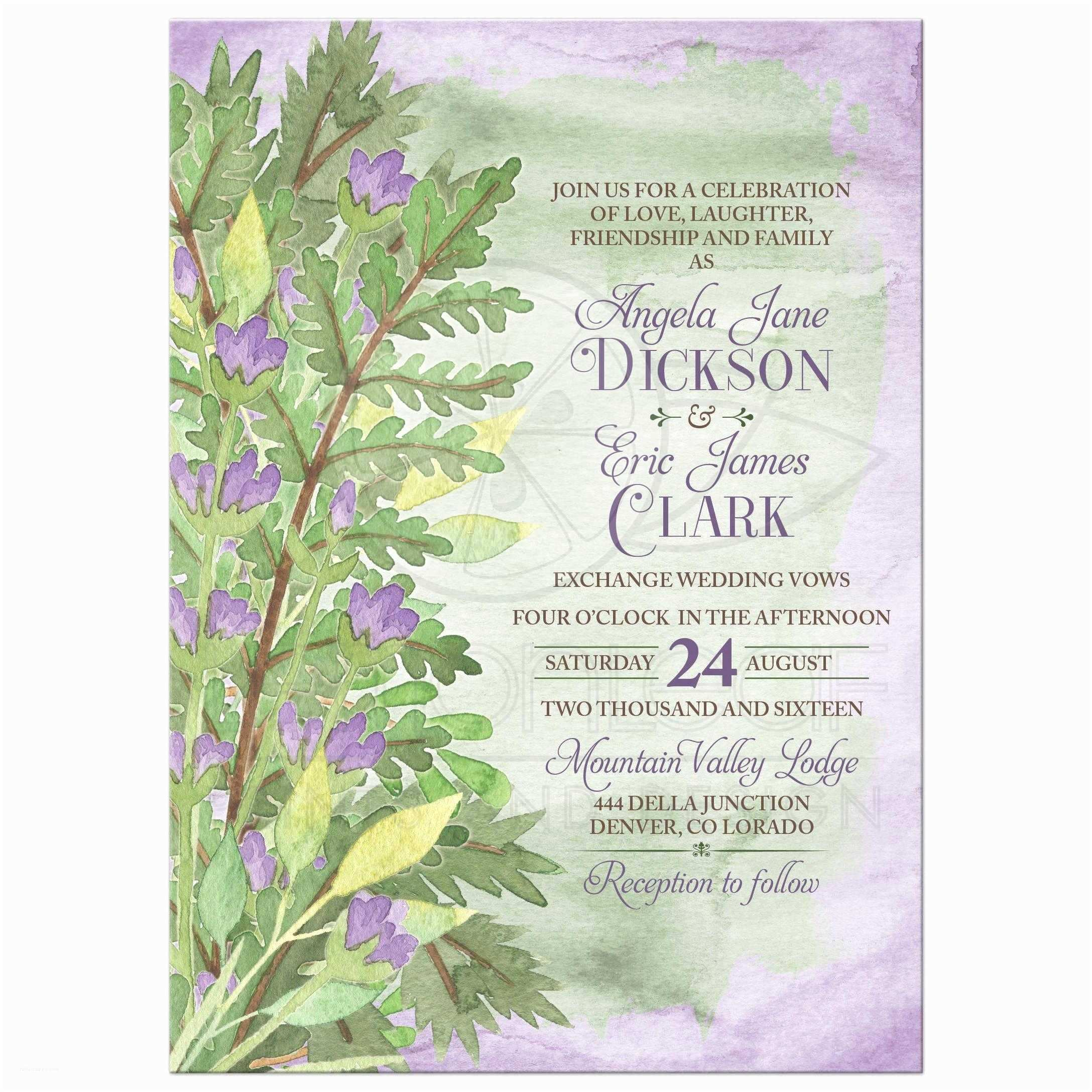 Woodsy Wedding Invitations Woodsy Watercolor Floral Wedding Invitation