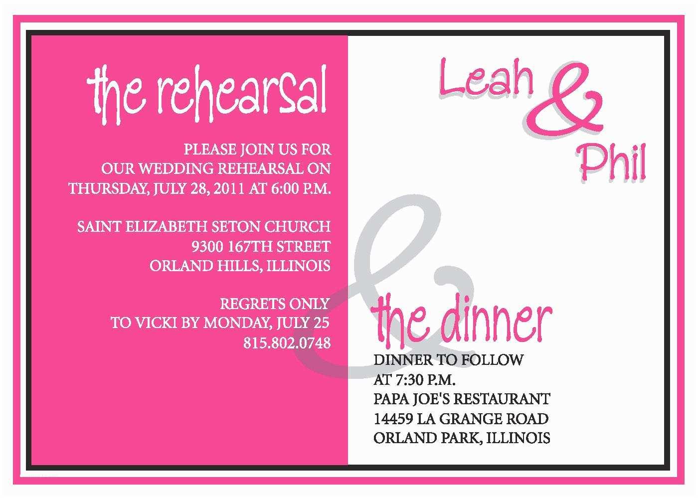 Wording for Rehearsal Dinner Invitations Rehearsal Dinner Invite Custom Colors