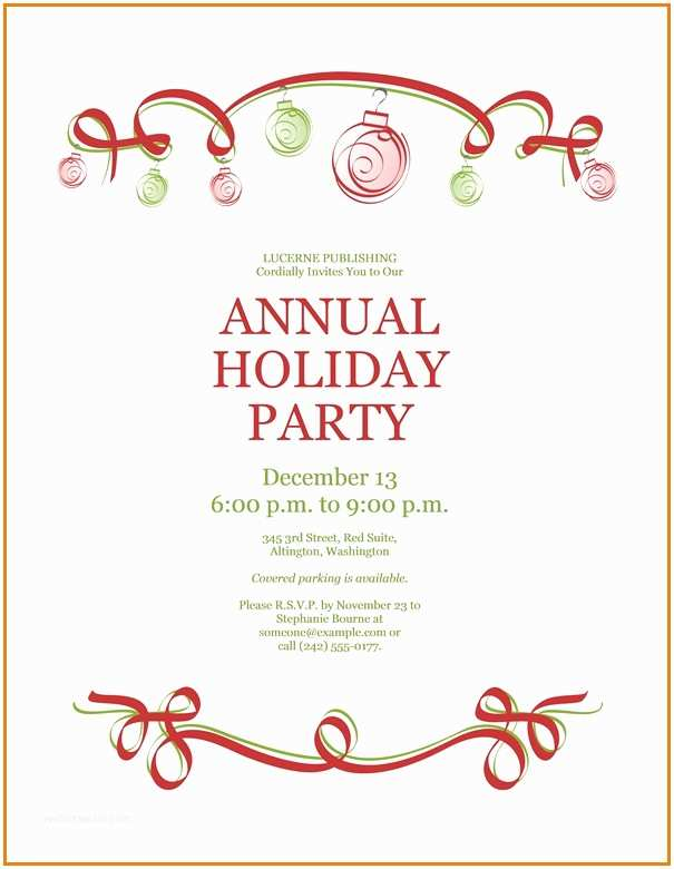 Work Christmas Party Invitation Work Holiday Party Invitation Template