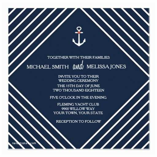 Yacht Wedding Invitation Wording Navy Blue Nautical Yacht Wedding Invitation