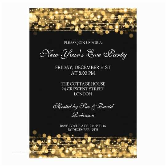 Year End Party Invitation Templates Elegant New Years Eve Party Sparkles Gold Card