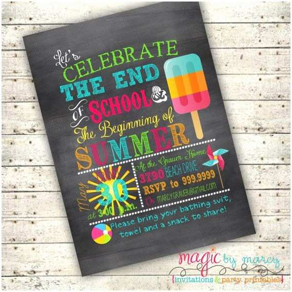 Year End Party Invitation Templates End Of School Summer Party Ideas Digital End Of School