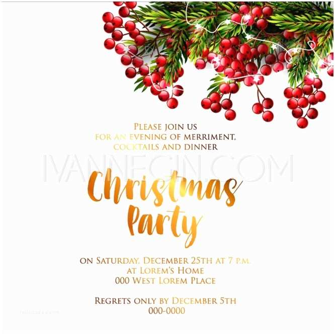 Merry Christmas party invitation and Happy New Year Party Invitation Card