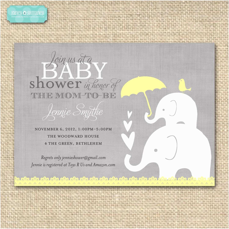 Yellow and Gray Baby Shower Invitations Baby Shower Invitation Elephant Yellow and Grey Printable