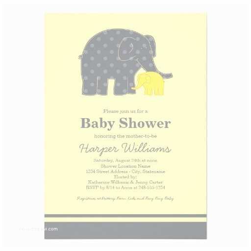Yellow and Gray Baby Shower Invitations Elephant Baby Shower Invitations