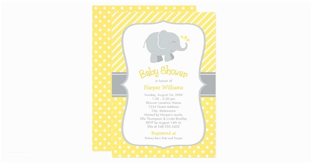 Yellow and Gray Baby Shower Invitations Elephant Baby Shower Invitations Yellow and Gray