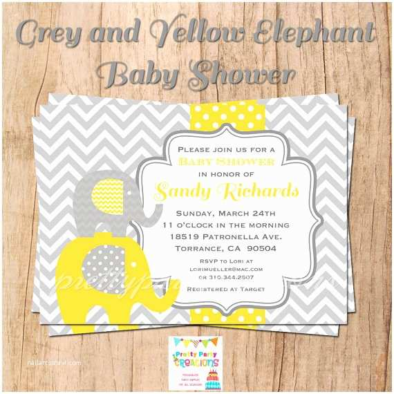 Yellow and Gray Baby Shower Invitations Grey and Yellow Elephant Baby Shower by Prettypartycreations