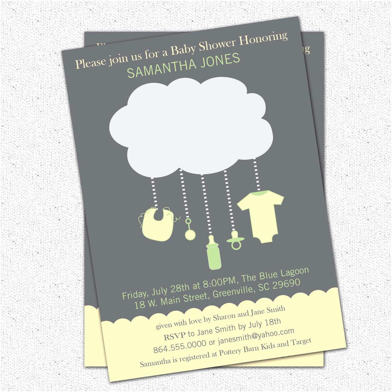 Yellow and Gray Baby Shower Invitations Rain Cloud Baby Shower Invitations Gender Neutral Green