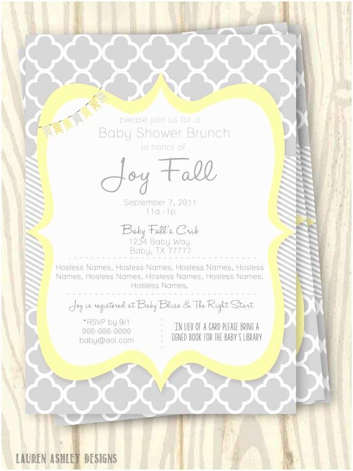 Yellow and Gray Baby Shower Invitations Yellow and Grey Baby Shower Invitation 5x7