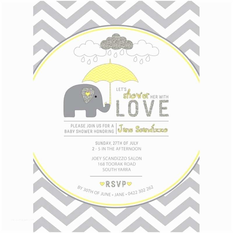 yellow grey chevron elephant invitation